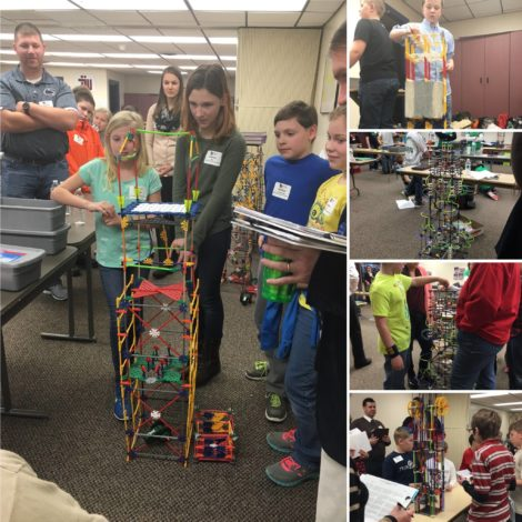 Middle school students building K'NEX structures